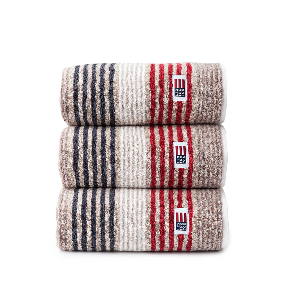Original Striped Towel badhandduk – beige/red multi