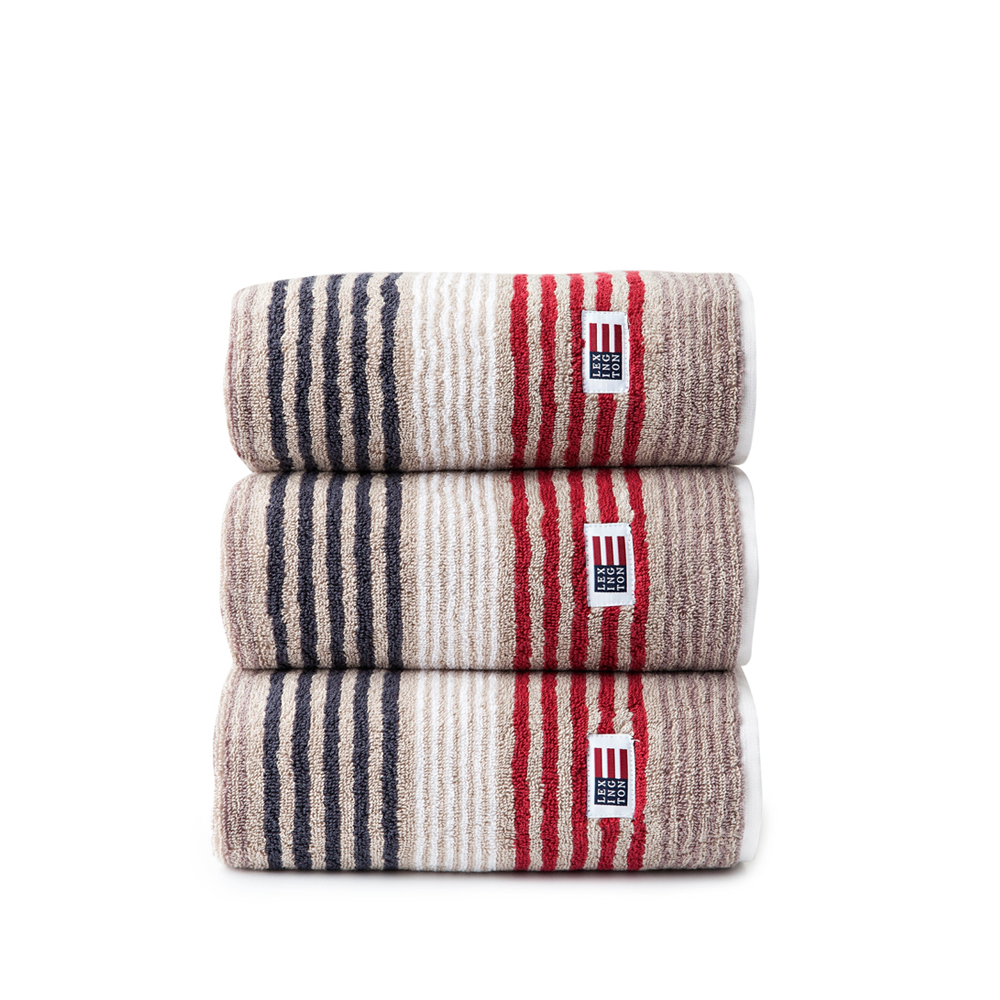 Original Striped Towel duschhandduk – beige/red multi