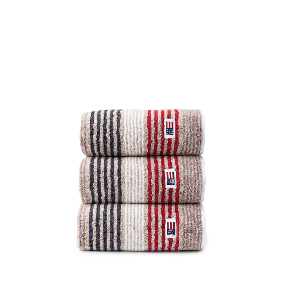 Original Striped Towel gästhandduk – beige/red multi
