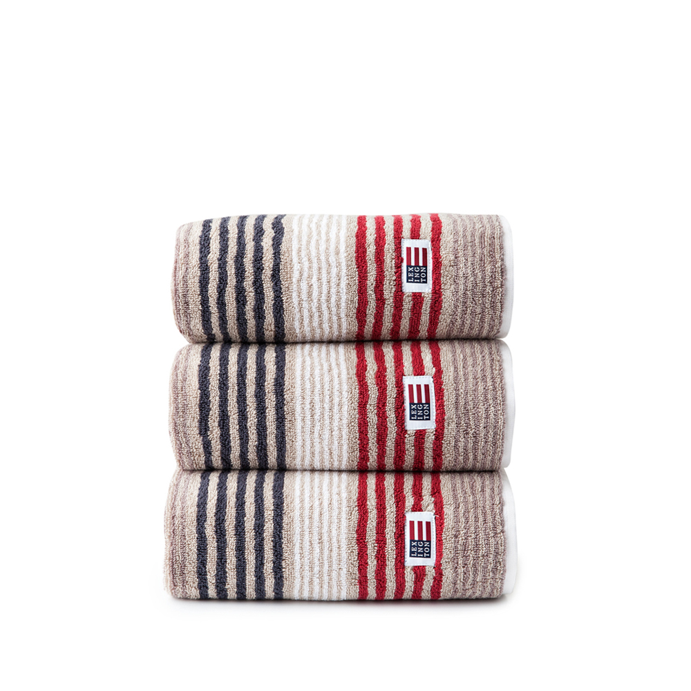 Original Striped Towel handduk – beige/red multi