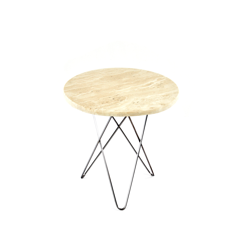 Bild av Tall Mini O Table soffbord - travertino, rostfritt stativ