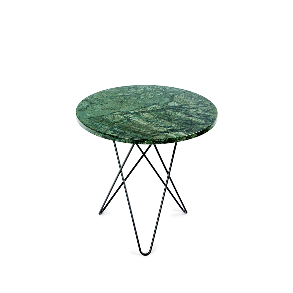 Bild av Tall Mini O Table soffbord - grön marmor, svart stativ